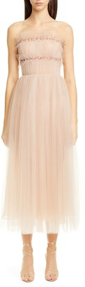 Jason Wu Collection Strapless Ruched Tulle Midi Cocktail Dress