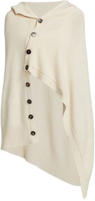 The Row Adren Wool & Cashmere Asymmetric Button Shawl