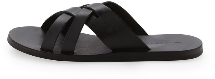 John Varvatos Cross Flat Sandal, Black