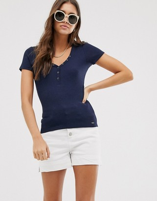 Hollister button thru henley top