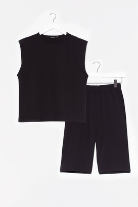 Nasty Gal Womens You and Tee vest Top and Biker Short Set - Black - 8