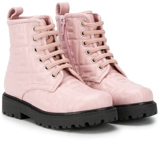 Fendi Kids Monogram Lace-Up Boots