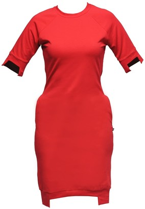 Non+ Non435 Red Short Sleeve Raglan Sweater Dress
