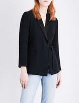 Sandro Asymmetric self-tie woven blazer
