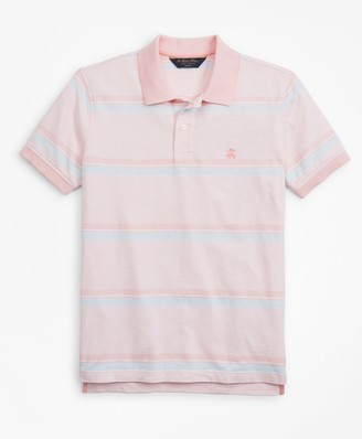 Brooks Brothers Slim Fit Cotton and Linen Horizontal Stripe Polo Shirt
