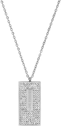 HMY Jewelry Women's Necklaces metallic - Simulated Diamond & Stainless Steel 'Love Forever' Dog Tag Necklace