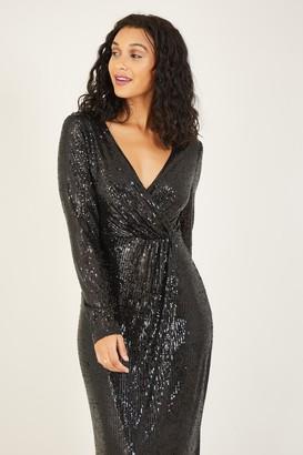 Yumi Black Sequin Wrap Maxi Dress