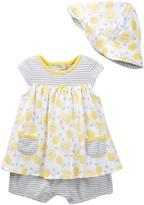 Offspring Lemon Popover Bodysuit Dress & Hat Set (Baby Girls)