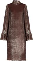 See by Chloe Smocked high-neck velvet dress