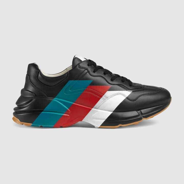 Gucci Rhyton Web print leather sneaker