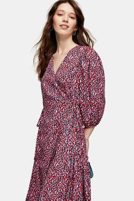 Topshop Womens Animal Print Kimono Wrap Midi Dress - Monochrome