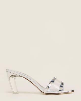Valentino Silver & Transparent Rockstud Metallic Sandals