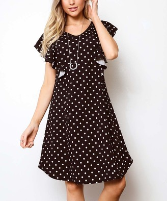 Milly Penzance Women's Casual Dresses Black - Black Polka Dot Flutter-Sleeve A-Line Dress - Women & Plus