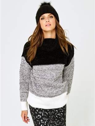 M&Co Petite colour block roll neck jumper