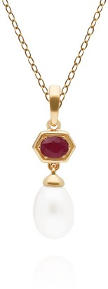 Gemondo Modern Pearl & Ruby Pendant in Yellow Gold Plated Silver