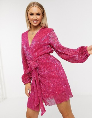 Club L London sequin wrap front mini dress with belt detail in pink