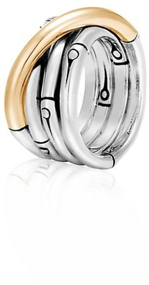 John Hardy Bamboo 18K Yellow Gold & Sterling Silver Band Ring