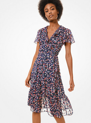 Michael Kors Floral Burnout Georgette Wrap Dress
