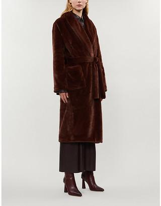 Reformation Hudson faux-fur belted coat