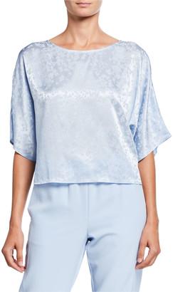 Sally LaPointe Floral-Jacquard Satin Dolman Tee, Light Blue