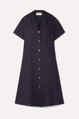 Mansur Gavriel Linen Shirt Dress - Midnight blue