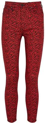 Alice + Olivia Alice & Olivia Jeans Good High Rise Red Leopard-print Skinny Jeans