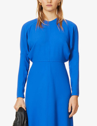 Victoria Beckham Dolman-sleeved round-neck stretch-crepe midi dress