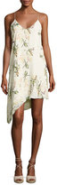 Haute Hippie The Waterfall Floral Silk Slip Dress, White/Green