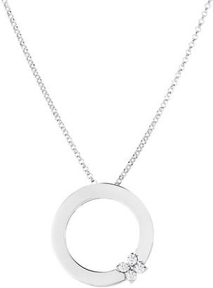 Roberto Coin Love In Verona 18K White Gold & Diamond Flower Circle Of Life Pendant Necklace