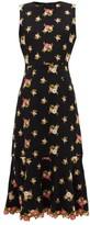 Andrew Gn Fluted-hem Floral-embroidered Crepe Dress - Womens - Black
