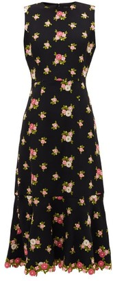 Andrew Gn Fluted-hem Floral-embroidered Crepe Dress - Black