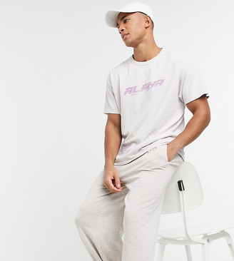 New Look oversized t-shirt with print in overdye cream