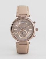 Michael Kors Gray Leather Sawyer Watch