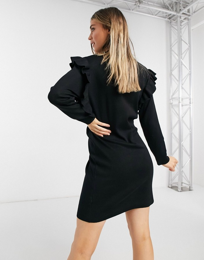 Thumbnail for your product : Qed London ruffle detail sweater dress in black