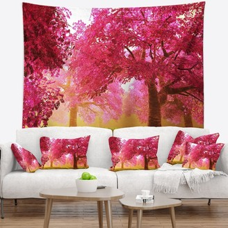 Design Art Designart 'Mysterious Red Cherry Blossoms' Landscape Wall Tapestry