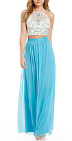 B. Darlin High Neck Illusion-Yoke Beaded Bodice Open-Back Color Block Two-Piece Long Dress