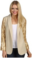 Brigitte Bailey Zia Sequin Blazer (Stone/Gold) - Apparel
