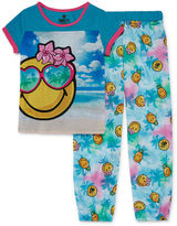 Asstd National Brand Smiley 2-pc. Short-Sleeve Sleep Shirt and Pants Set - Girls