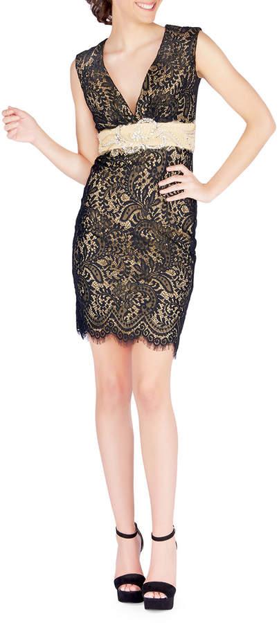 Mac Duggal Embellished Belted Cocktail Dress