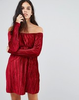 Club L Bardot Smock Velvet Dress With Sleeve