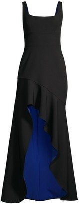 BCBGMAXAZRIA Asymmetric High-Low Stretch Crepe de Chine Gown