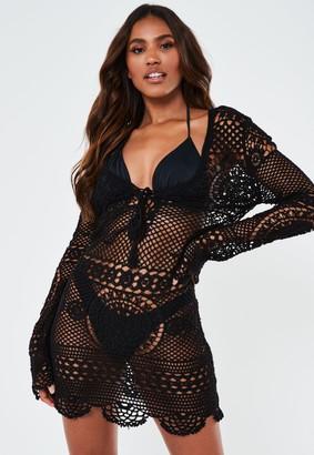 Missguided Black Crochet Lace Up Mini Dress