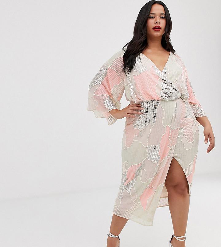 Asos Curve ASOS DESIGN Curve midi kimono dress in pearl and sequin patched embellishment-Multi