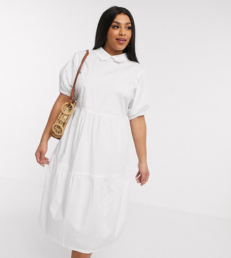 Daisy Street Plus midaxi smock dress with tiered skirt and puff sleeves in cotton