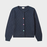 Paul Smith Girls' 7+ Years Navy Cotton-Cashmere Cardigan With Textured Polka Dots
