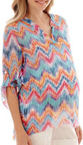 Asstd National Brand Maternity 3/4-Sleeve Roll-Tab Woven V-Neck Tunic Blouse - Plus