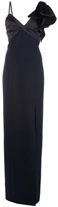 Marchesa Notte Asymmetric Satin Drape Crepe Gown