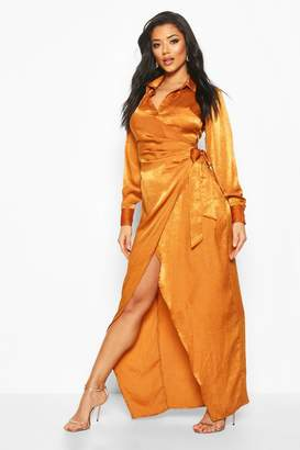 boohoo Hammered Satin Wrap Midaxi Shirt Dress