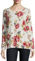 Joie Eloisa Rose-Print Crewneck Cashmere Sweater, Chalk