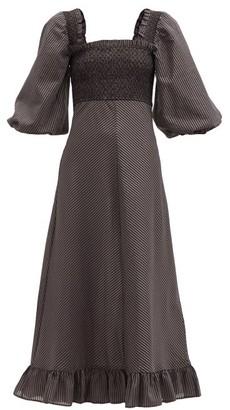 Ganni Puff-sleeved Check Seersucker Dress - Black